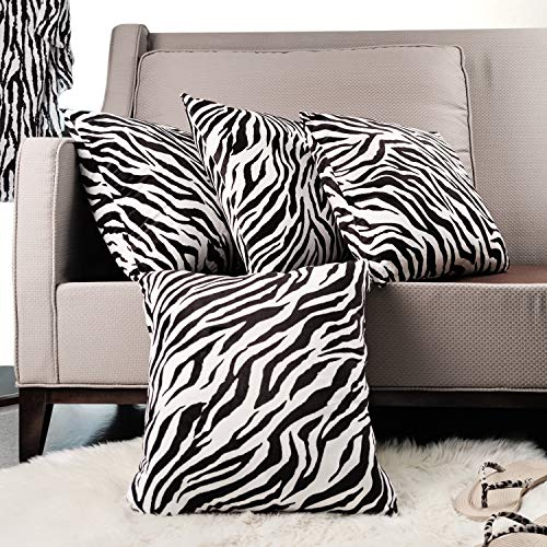 4-Pack Cases Cushion Covers 45 x 45 Throw Pillow Covers Soft Decorative Velvet Cushions for Sofa Set of 4 (Zebra Pillow Covers)