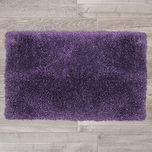 "Nestl Bedding Shaggy Bath Rug with Non-Slip Backing Rubber - Super Soft Bathroom Shower Bath Tub Rug made of Luxury Microfiber, Machine Washable, Plush Cozy Mat, Medium 20""x32"" - Purple"