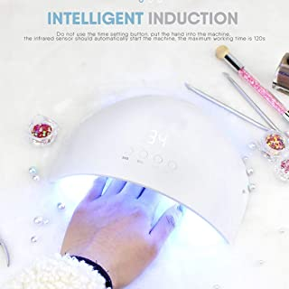 Ysswjzz UV LED Nail Lamp,Gel Nail Polish Dryer Light Curing Lamp with 12 LED Beads/ 3 Timers (30s,60s,90s) for UV Gel/Gel Nail Polish