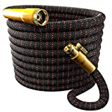 TBI Pro Garden Hose Expandable and Flexible - Super Durable 3750D Fabric | 4-Layers Flex Strong Latex | No-Rust Brass Connectors with Pocket Protectors - Water Hoses for Gardening (50FT Hose Only)