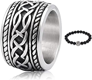 Gungneer Celtic Knot Ring Enternity Love Symbol Stainless Steel Irish Gift for Lover Trinity Jewelry Men Women