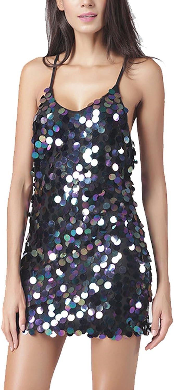 Deargirl Women's Sexy Deep V Neck Open Back Sequin Glitter Bodycon Stretchy Mini Party Dress