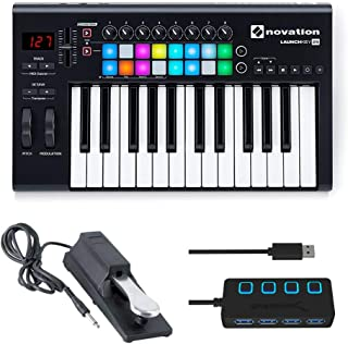 Novation Launchkey 25 MK2 Keyboard Controller with Sustain Pedal and 4 Port 3.0 USB HUB