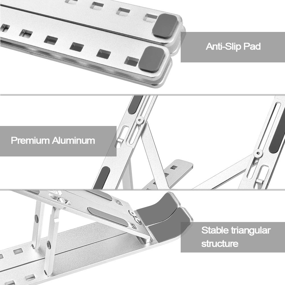 Portable Laptop Stand, PHOCAR Laptop Holder for Desk, Aluminum Adjustable Laptop Stand for iPad, MacBook Pro,Tablets and Laptops, Such as Lenovo ThinkPad, Dell Inspiron XPS-(Sliver/Small)