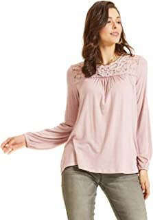 SONJA BETRO Women's Knit Lace Accent Tunic 101DUSTY Rose/Small
