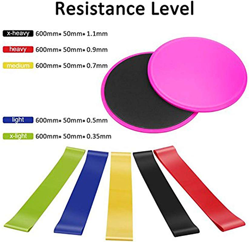 Best Ycldcyp Ultimate Gliding Discs Resistance Bands Fitness Equipment Set 2pcs Fitness Sliders 5pcs Workout Bands With Storage Bag For Full Body Training Color Pink