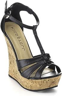 Valera-46 Women's T-Strap Cork Platform Wedge Sandals