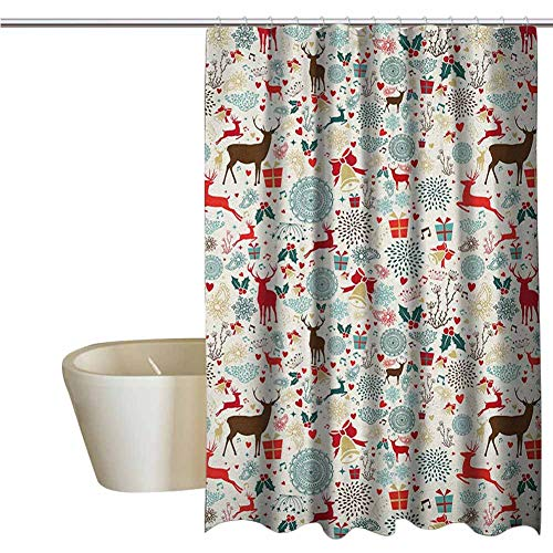 Christmas Rustic Shower Curtain Vintage Xmas Theme Icons Hearts Jingle Bells Deer Floral Details Farmhouse Bathroom Decor W69 x L74 Inch Petrol Blue Red and Brown