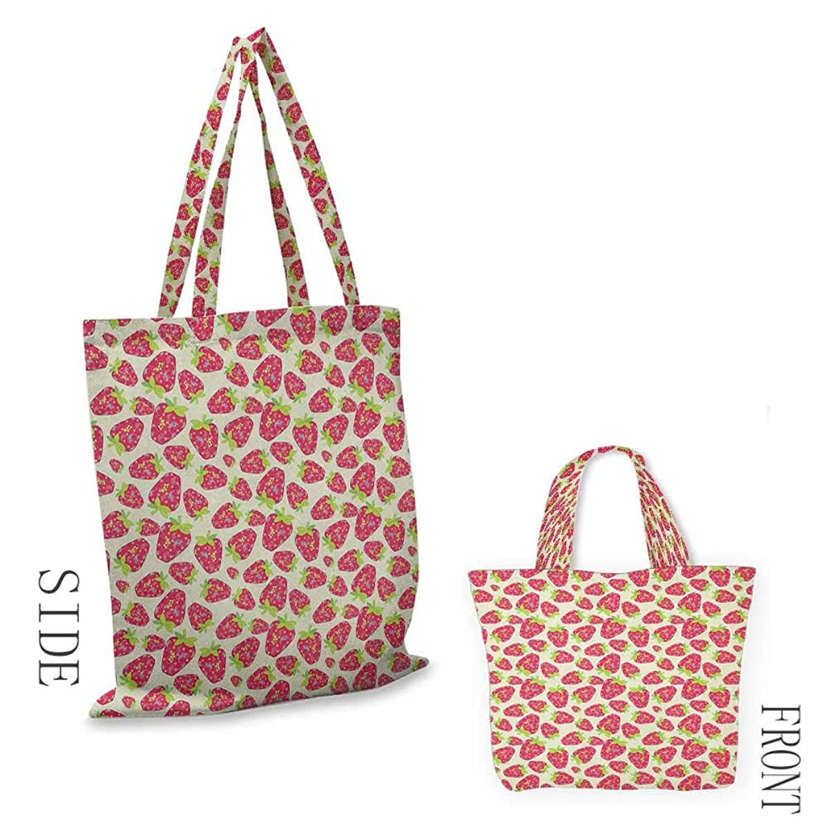 """portable shopping bag StrawberryTropical Summer Fruit Pattern Strawberry Figures with Traditional Paisley Motifs Multicolor18""""W x 16""""H"""