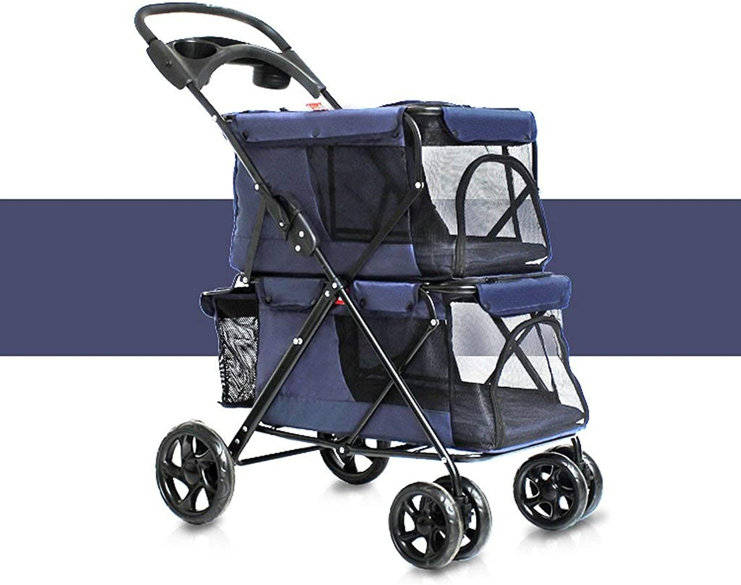 LXF Pet travel stroller Lightweight folding double pet stroller Easy folding with removable pad, storage basket