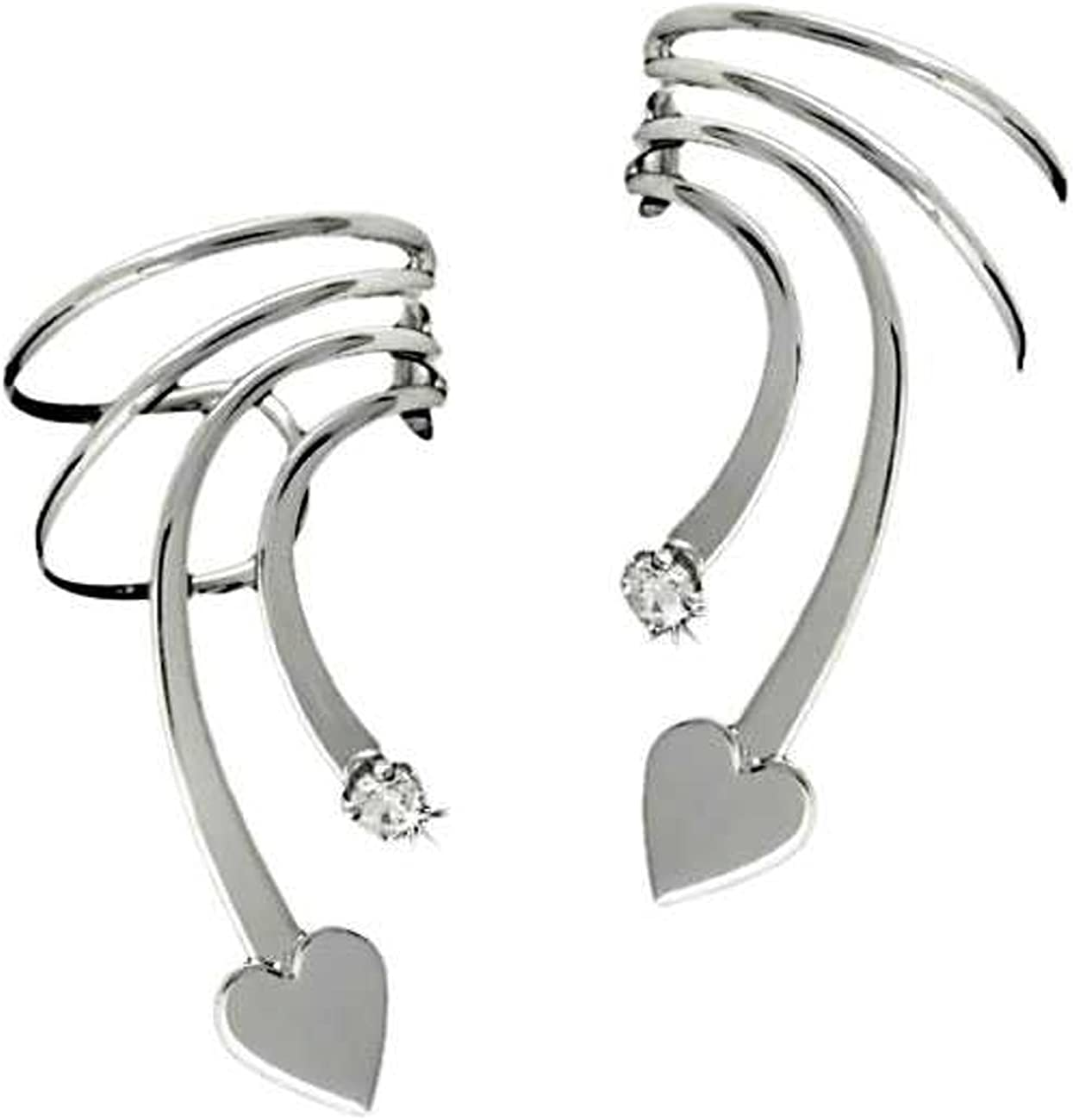 Sterling Silver Max 54% OFF Pierceless Sales results No. 1 Left And Wave Right C Short Heart