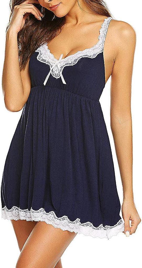 Women Lace Lingerie Sexy V Neck Sleepwear Nightwear Nightgown Lounge Dress Mini Teddy Chemise