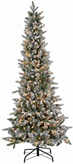The Sterling Company 6.5' Lt Flocked Canyon Fir Home Decor, 44InL x 12.75InW x 12.75InH, Green