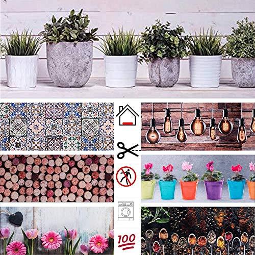 parpyon® Tappeto Cucina Antiscivolo Lavabile Panarea passatoia al Metro Tappeto Gomma tappeti Bagno Nuove colorazioni Moderno Bagno Ingresso casa Multiuso (50X180, VASI)
