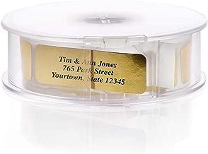 Gold Foil Address Labels with Elegant Dispenser - Roll of 500