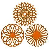 Mantel multiusos, protector para mesa con forma de flor, material de silicona (paquete de 3), de la mejor calidad, aislable, flexible, durable, antideslizante, resistente almohadilla para cosas calientes y cubre vasos, Color Naranja