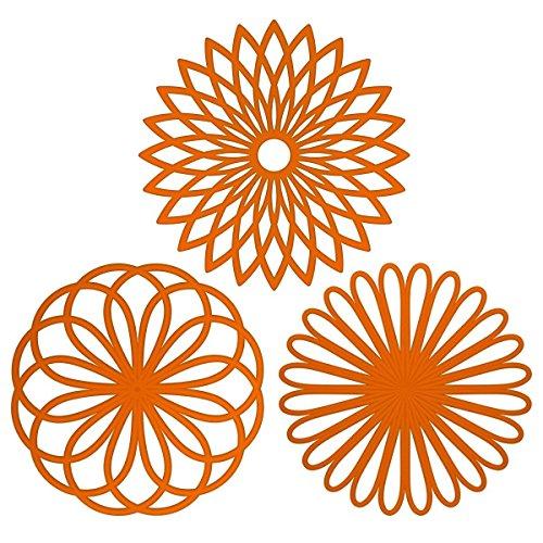 Silikon Multi Blume Topfuntersetzer (3 Stück) Premium Qualität Isolierter flexibel robust rutschfeste Hot Pads und Untersetzer Cup orange