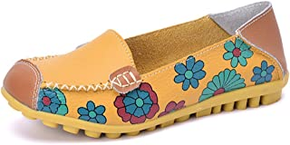 Eagsouni® Women's Flower Printed Slip On Leather Casual Loafers Driving Dancing Boat Shoes Flat Pumps