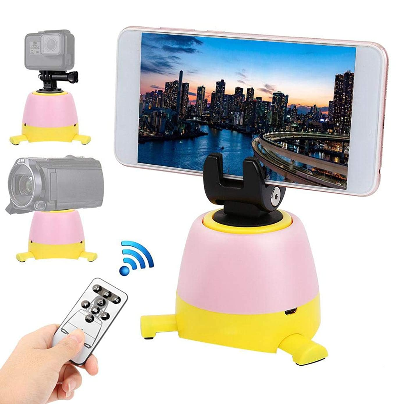 Serounder Electronic 360 Degree Rotation Panoramic Shooting Tripod Ball Head Compatible with Bluetooth with Round Tray Support Control Remote for Smartphones, Action Camera, DSLR Cameras(Yellow)