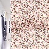 Vinilo Película de Ventana Privacidad Pegatina Decorativas para Translucido para Cristal Película Decorativa Electrostática Anti-UV para Hogar Cocina Baño y Oficina (Flor Rosa 44.5 x 200 cm)