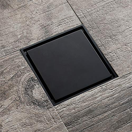 ZTHC Elegante zwarte hoge zwaartekracht verborgen bodemafvoer deodorant anti-terugval grote vierkante spiegel bodemafvoer met verdringt