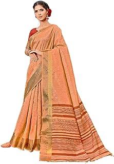 تصميم السلمون الهندي المرأة بوليوود نمط الموضة الغنية نظرة القطن ساري مع بلوزة مطابقة قطعة 6079