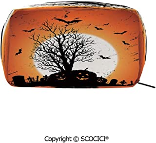 Travel Cosmetic Bag Portable Makeup Pouch Grunge Halloween Image with Eerie Atmosphere Graveyard Bats Pumpkins makeup clutch for Girls Ladies Women