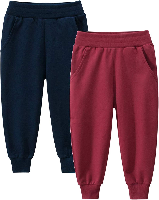 HILEELANG Kids Boy Girl Pants Chino discount Jogger Max 45% OFF Drawstring Car 2-Pack