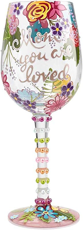 Enesco 6001349 Lolita Mom You Are Loved Hand Painted Wine Glass 15 Oz Multicolor