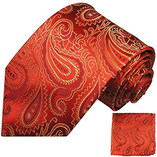 Krawatten Set 2tlg 100% Seide rot gold paisley Hochzeit Hochzeitskrawatte mit Einstecktuch