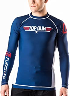 Fusion Fight Gear Top Gun Classic BJJ Rash Guard Compression Shirt- Navy