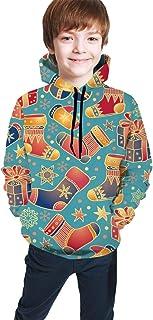 Hunter qiang, Suéter tee niñas y niños Vacaciones de Invierno Fondo de año Nuevo. Calcetín de Navidad Aislado Dibujado a Mano, Sudadera con Capucha M