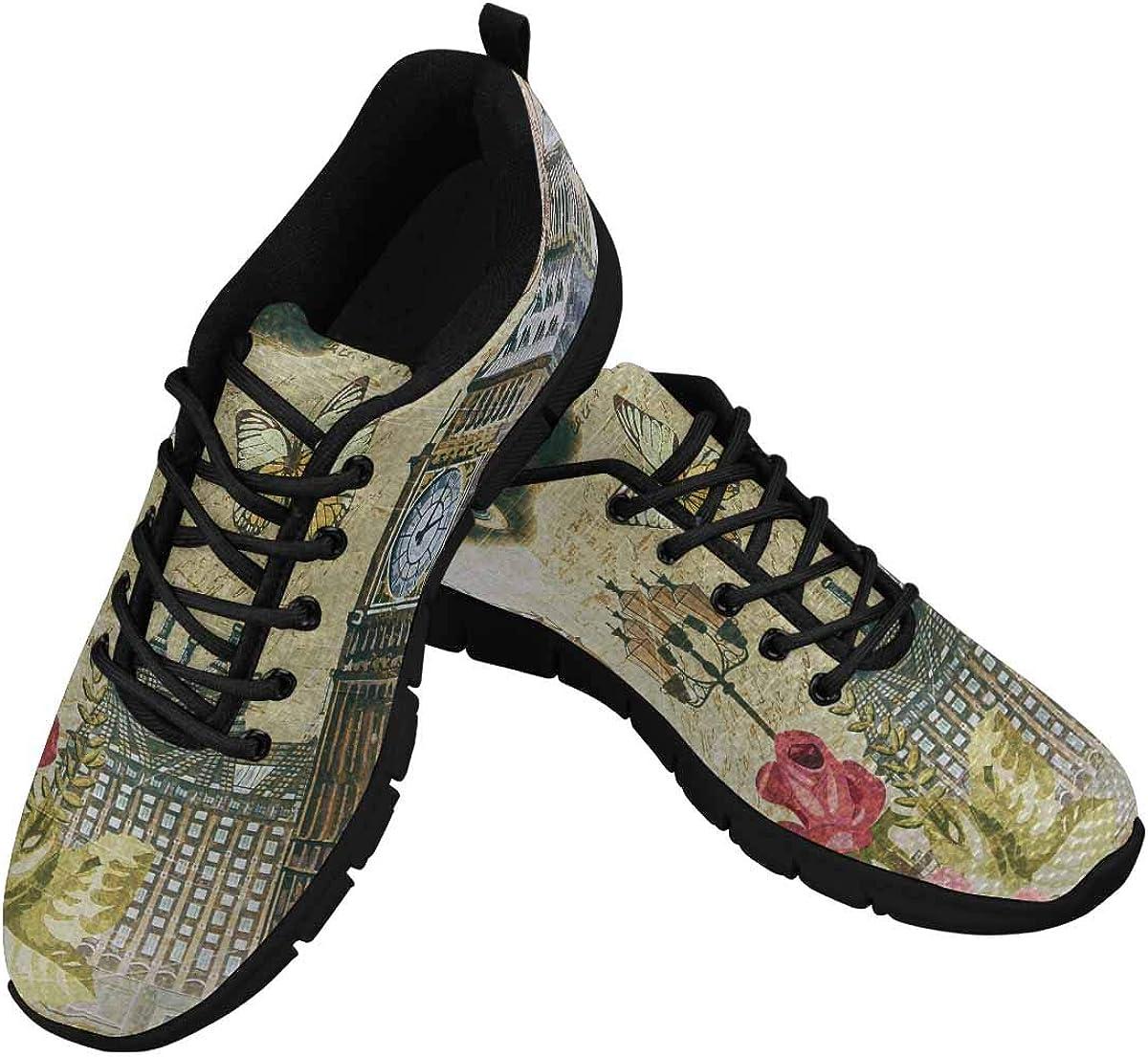 INTERESTPRINT London Big Ben Vintage Poster Women's Lace Up Running Comfort Sports Sneakers