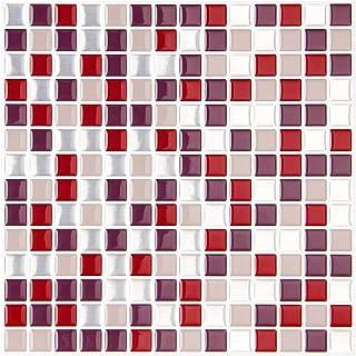 STICKGOO Pegatinas de azulejos autoadhesivos 3D, Decorativos Adhesivos para Azulejos Pegatina de Pared, Impermeable Azulejos de Gel, Diseño de Mosaico con Motivo, para Baño y Cocina (Rojo mixto)