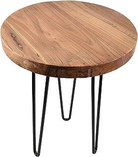 طاولة دائرية الشكل بنمط إعصار ريفي قديم من خشب الدردار مع حامل معدني 3 أرجل