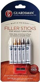 Guardsman Wood Repair Filler Sticks - 5 Colors Plus Sharpener - Repair and Restore Scratched Furniture - 500300
