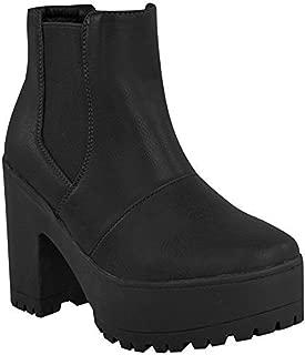 Bottines femme talon compensé plateforme sandales femmes grosses bottes à crampons à enfiler taille 3-8
