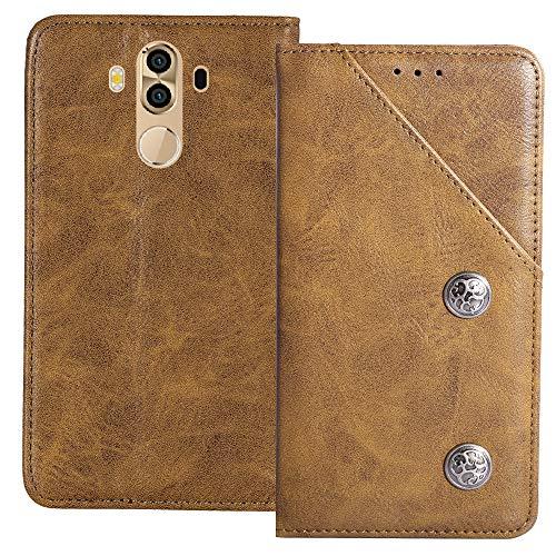YLYT Flip Braun Schutz Hülle Hülle Für M-Horse Pure 3 5.7 inch Etui Leder Tasche Handyhülle Hochwertiges Stoßfeste Kartenfach Cover