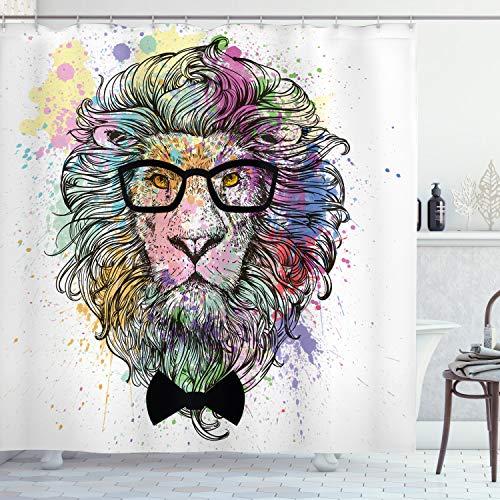 ABAKUHAUS Hipster Douchegordijn, Lion Bow Creative Splashes, stoffen badkamerdecoratieset met haakjes, 175 x 200 cm, Veelkleurig