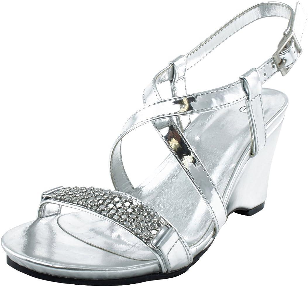 Cambridge Select Women's Open Toe Crystal Rhinestone Crisscross Strappy Platform Wedge Dress Sandal