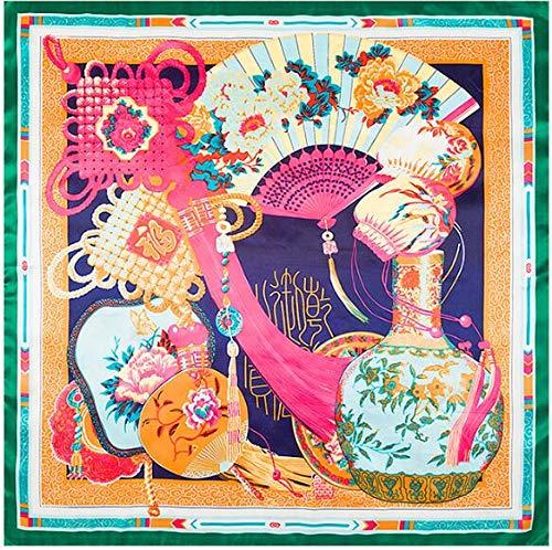 YDMZMS lentenieuw 90 x 90 cm knopen stijl kleine vierkante zijden sjaal dames sjaal sjaal halsdoek bandana vierkante hoofddoek