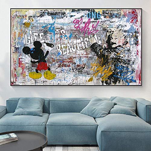 TELEGLO Poster Street Art Graffiti und Albert Einstein Drucke auf Leinwand Gemälde Kunst Bilder Banksy Graffiti Wall Art 60x80cm