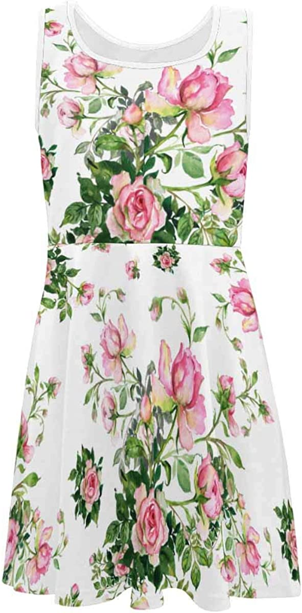 INTERESTPRINT Girls Sleeveless Casual/Party Dress for 4-13 Years Boston Terrier Floral Dress (2T-XL)