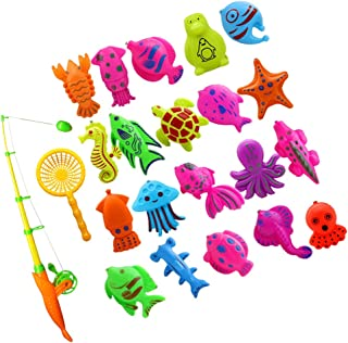 HOMYL 22Pcs Magnetic Fishing Toy Fish Model Set Bath Time Baby Kid Pretend Play Educational
