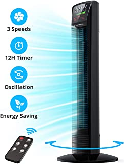Tower Fan, Oscillating Fan Powerful Floor Fan with Remote & Large LED Display, 9..
