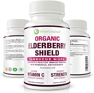 Sponsored Ad - Wiseceutical Organic Black Elderberry (Sambucus Nigra) with Black Currant Extract and Echinacea. 60 Days Su...