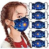 5 Stück Mundschutz Kinder Baumwolle 3D Cartoon Druck Verstellbarer Hängendes Ohr StaubschutZ Atmungsaktive Waschbar Mund-Nasenschutz Tiermotiv Bandana Halstuch Jungen Mädchen (C)