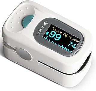 Etekcity PulsiOxímetro de Dedo y Monitor de Frecuencia Cardíaca con Pantalla OLED, Alarma y Función