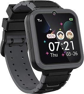 Teléfono Smartwatch para Niños Niñas - Pantalla Táctil de 1.57 ' Con llamada Telefónica SOS Juegos Reproductor de Música Cámara Despertador como Regalo de Cumpleaños para Alumno (NEGRO)