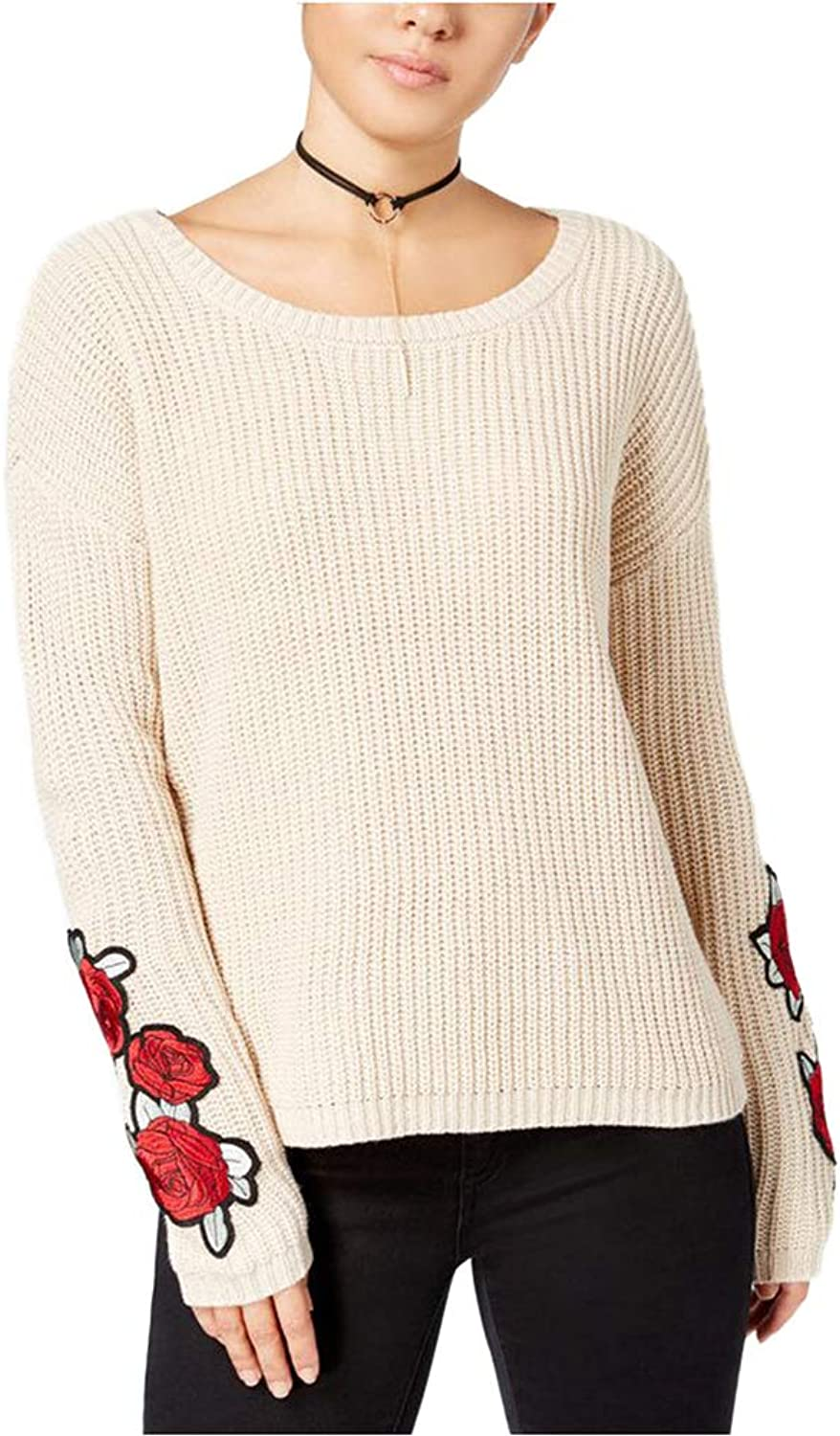 Almost Famous Juniors' pinkEmbroidered Sweater